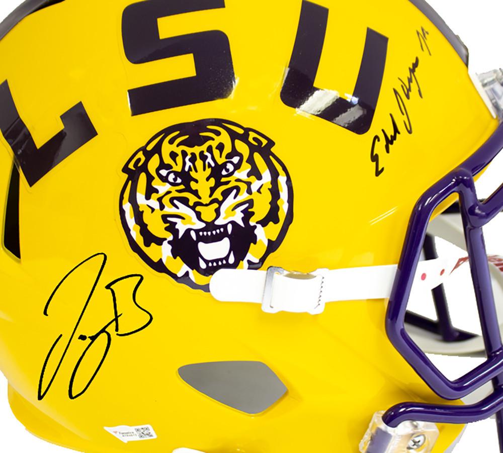 Joe Burrow Coach O Signed Autographed Yellow LSU Tigers Riddell Speed Replica Helmet - JSA Authentic/Fanatics Hologram Image a