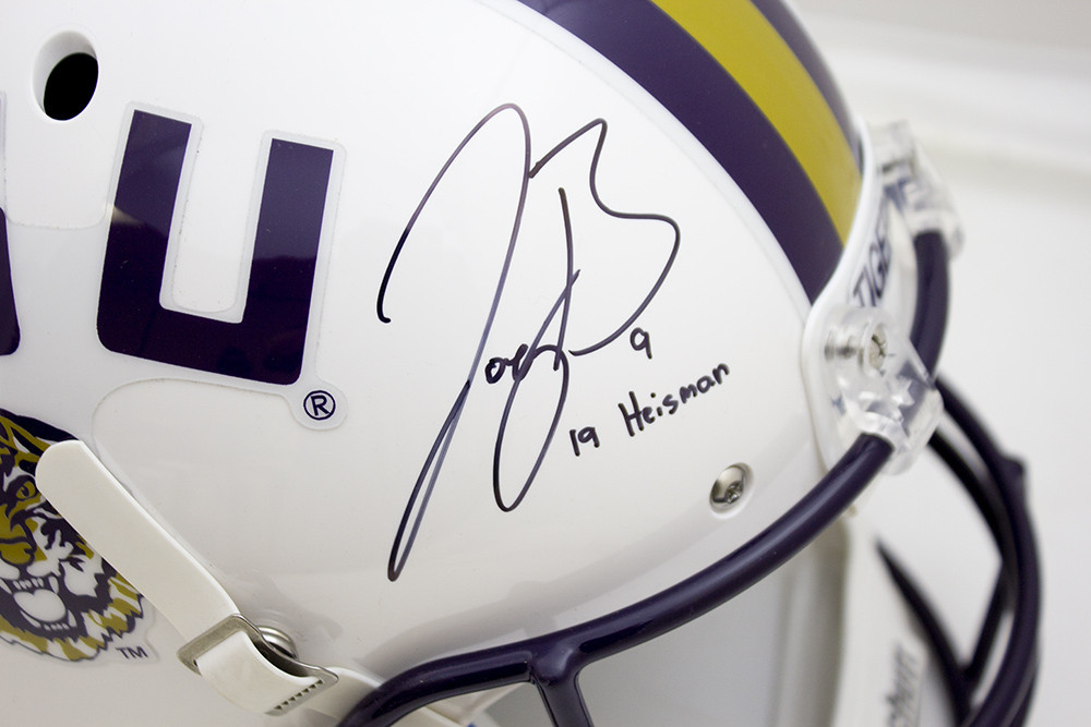 Joe Burrow Signed Autographed White LSU Tigers Schutt Replica Helmet - 19 Heisman Inscription - JSA Authentic/Fanatics Hologram Image a