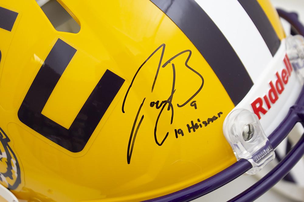 Joe Burrow Signed Autographed Yellow LSU Tigers Riddell Speed Authentic Helmet  19 Heisman - JSA Authentic/Fanatics Hologram Image a
