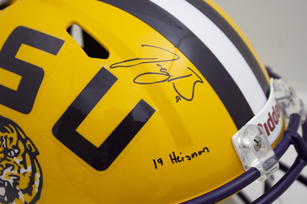 Joe Burrow Signed Autographed Yellow LSU Tigers Riddell Speed Replica Helmet 19 Heisman Inscription - JSA Authentic/Fanatics Hologram Image a