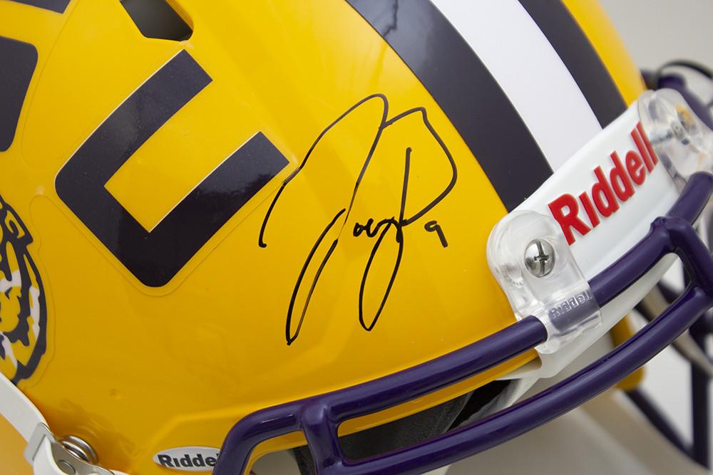 Joe Burrow Signed Autographed Yellow LSU Tigers Riddell Speed Replica Helmet - JSA Authentic/Fanatics Hologram Image a