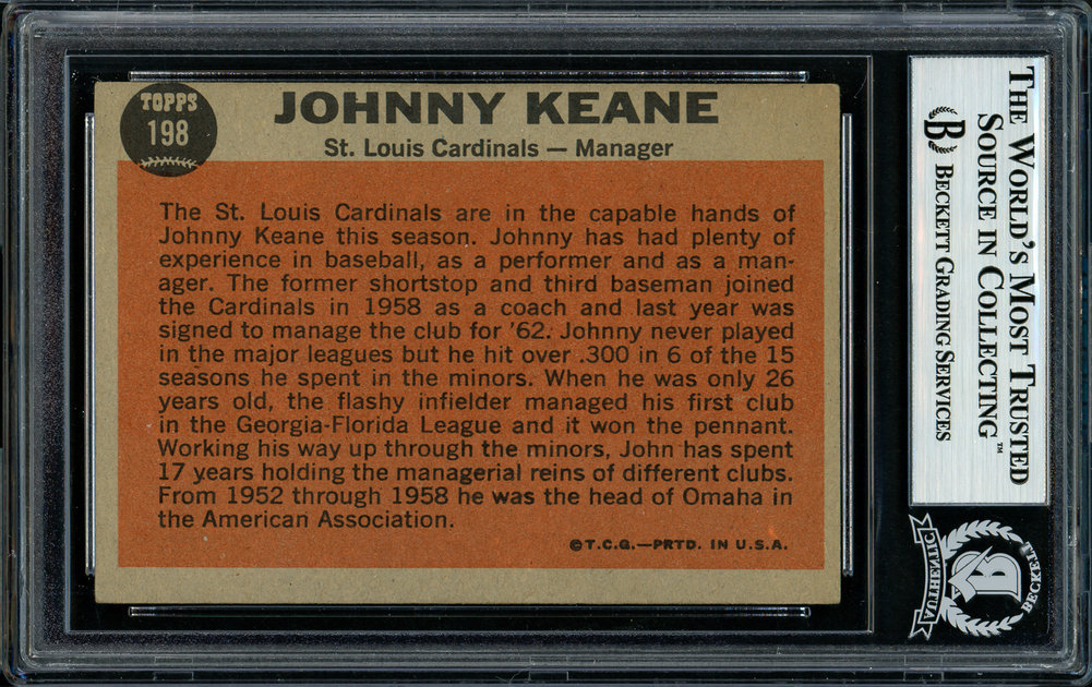 Johnny Keane Autographed Signed 1962 Topps Card 198 St. Louis Cardinals Died 1967 Beckett BAS 11481434 Image a