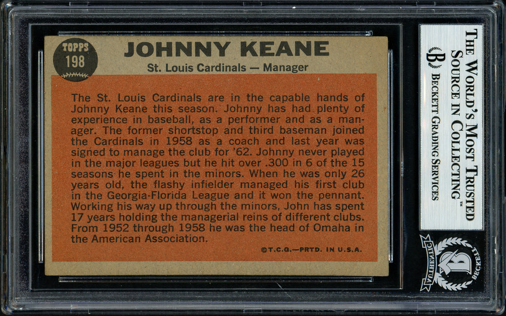 Johnny Keane Autographed Signed 1962 Topps Card 198 St. Louis Cardinals Died 1967 Beckett BAS 11481435 Image a