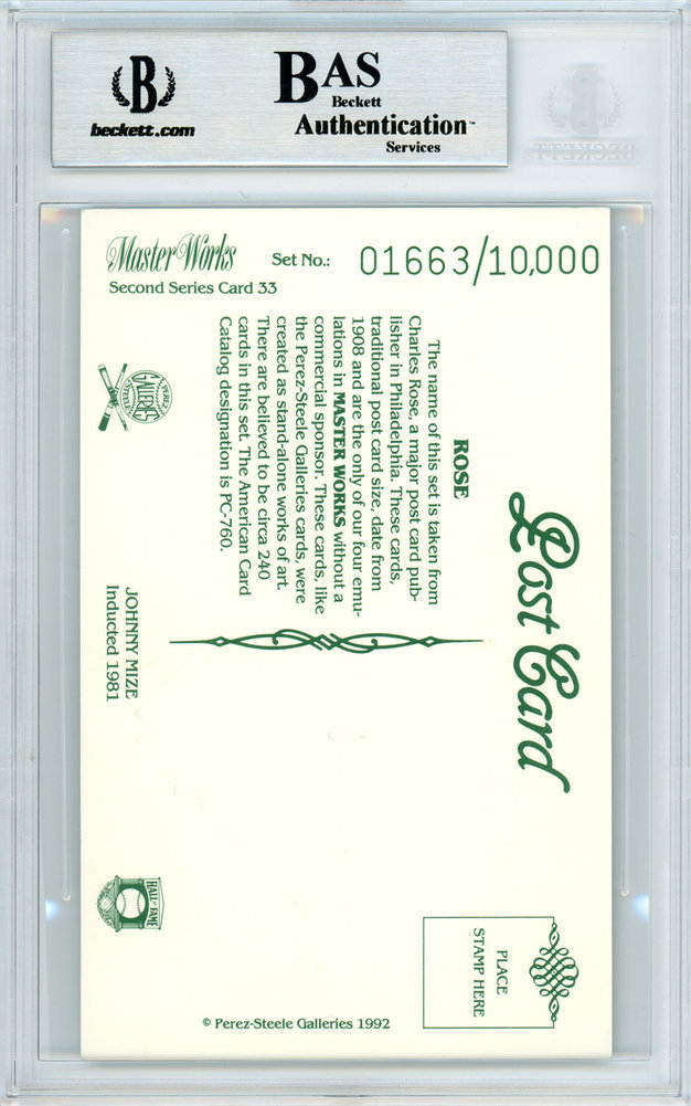 Johnny Mize Autographed Signed 1992 Perez-Steele Master Works Postcard #33 St. Louis Cardinals - Beckett Authentic Image a