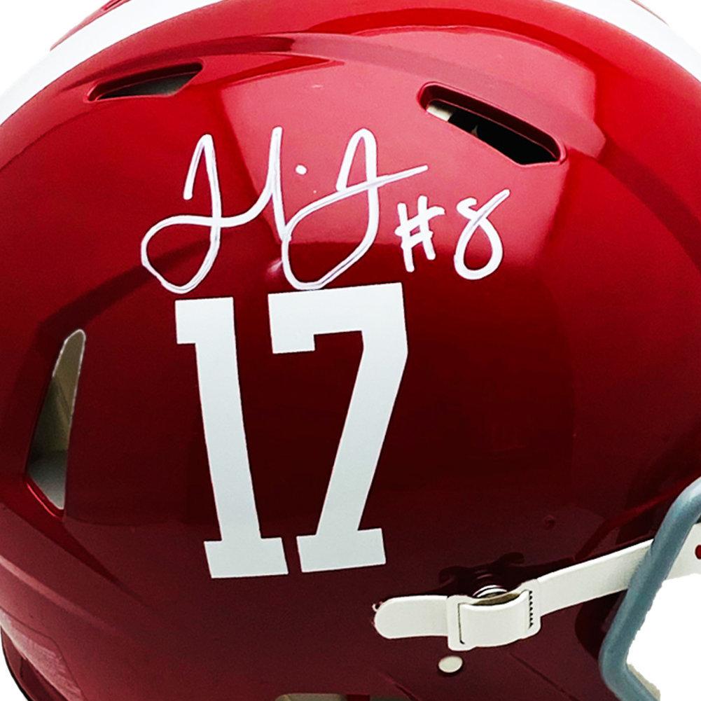 Julio Jones Alabama Crimson Tide Riddell Speed Authentic Full Size Helmet - White Pen - JSA Certified Authentic Image a