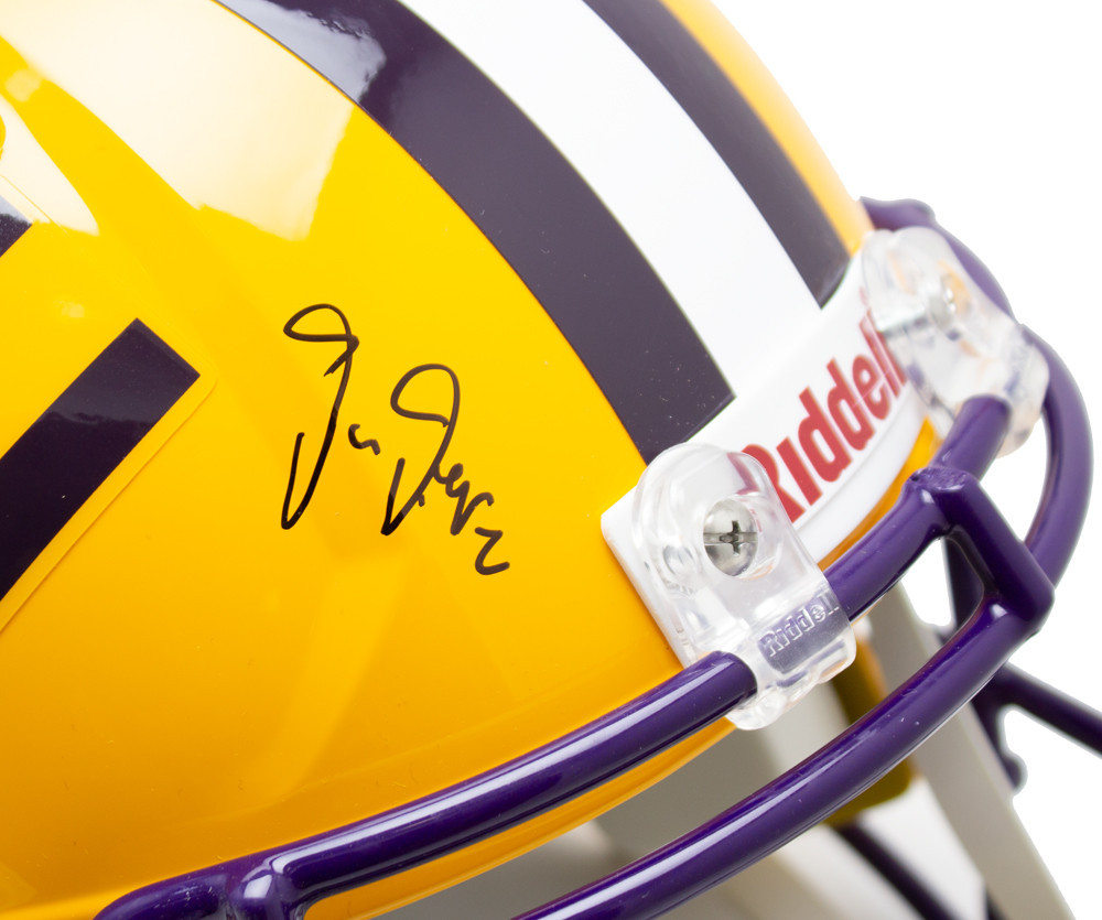 Justin Jefferson Autographed Signed Yellow LSU Tigers Riddell Speed Replica Helmet - Beckett Authentic Image a