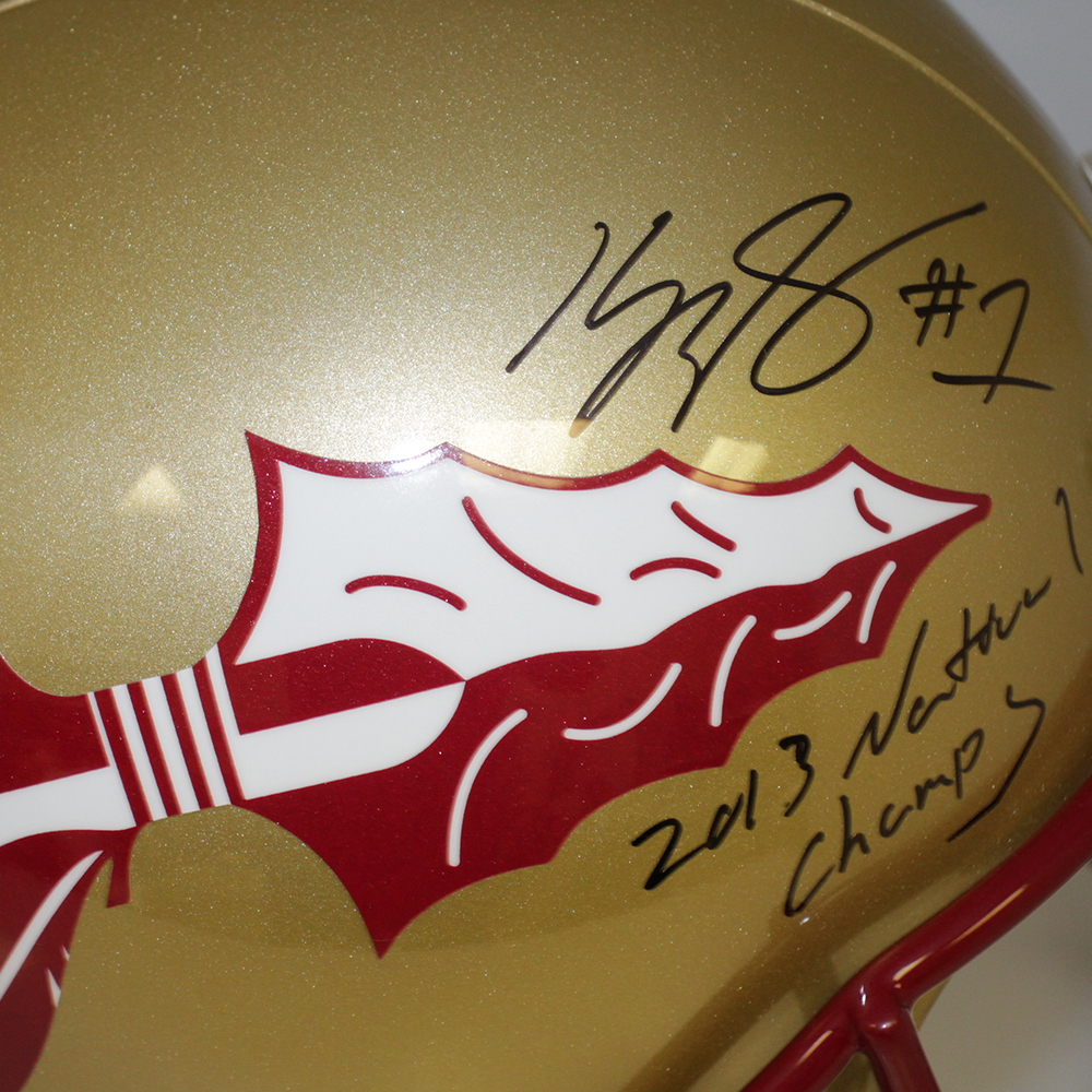 Kelvin Benjamin & Jameis Winston FSU Seminoles Autographed Signed Full Size Riddell Replica Gold Helmet w/ 2013 National Champs Inscription - Beckett & PSA/DNA Authentic Image a