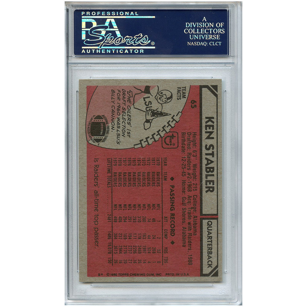 209e04171 Ken Stabler Autographed Signed Football Trading Card Houston Oilers PSA/DNA  #. Loading Images... $59.99 Price