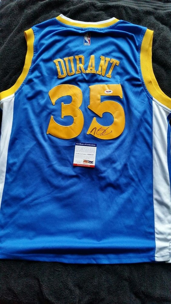 best service fc2dd 64595 Kevin Durant Autographed Signed Golden State Warriors Away ...