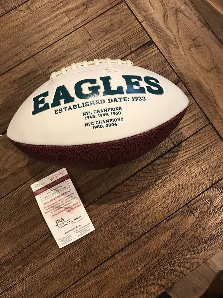 3fbba56cdb4 Lane Johnson Eagles Full Sized Autographed Signed Football - JSA Authentic  Memorabilia - Coa. Loading Images...  170.99 Price