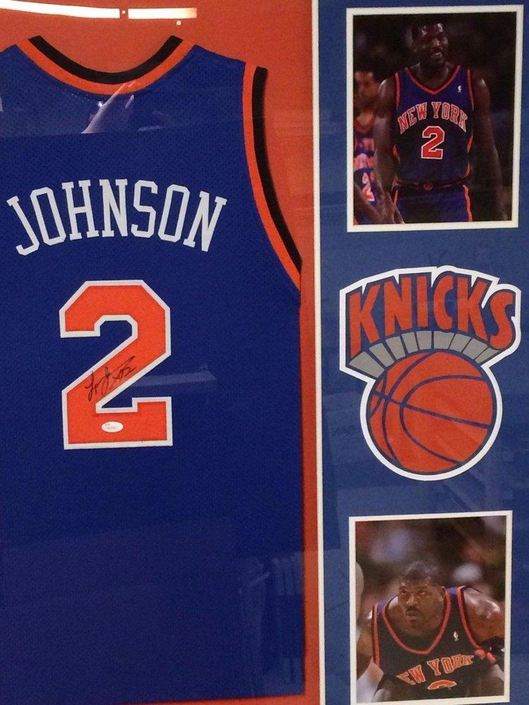 ... netherlands larry johnson autographed signed custom framed new york  knicks blue jersey jsa authentic coa. bc24ba50e