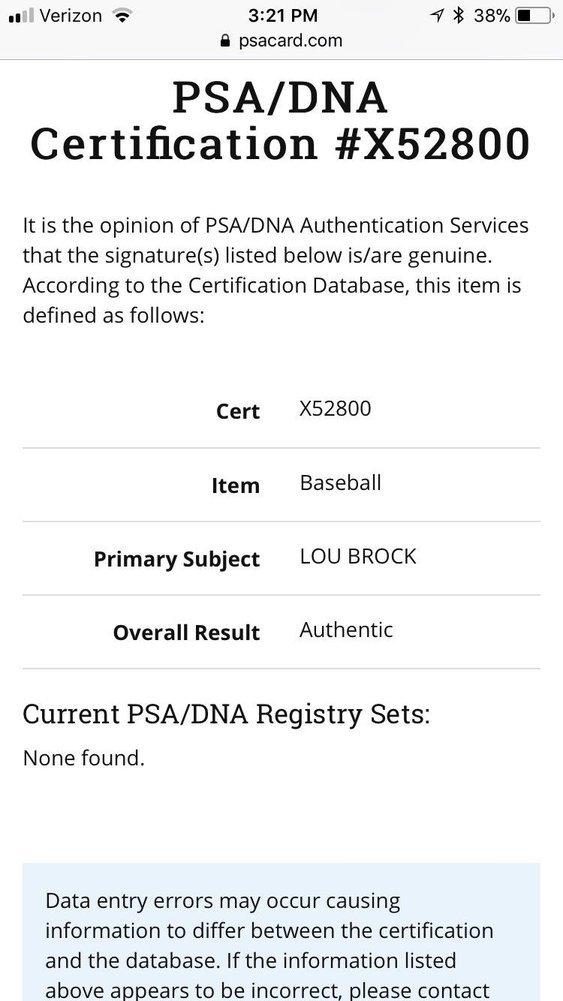Lou Brock St Louis Cardinals Autographed Signature Baseball Coa