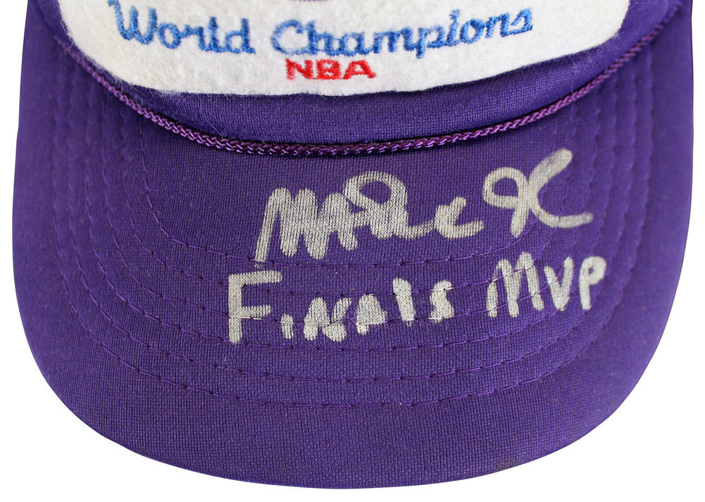 Magic Johnson Autographed Signed Lakers Finals MVP 1987 Vintage Trucker Hat Beckett Image a