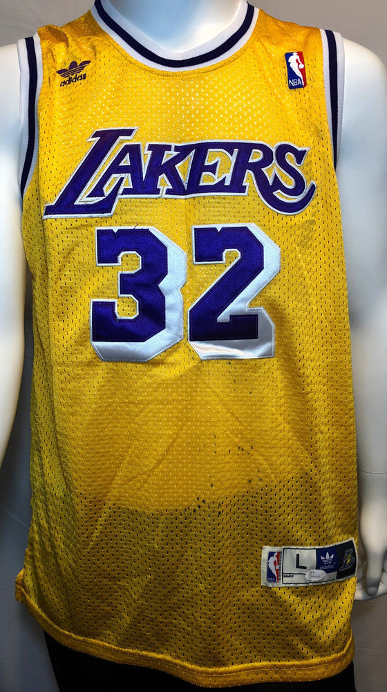 best service 76b6f 211ec Magic Johnson Autographed Signed Los Angeles Lakers Adidas ...