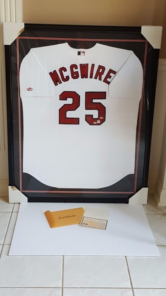 Mark Mcgwire Autographed #61/583 Professionally Frame Jersey Coa/Steiner
