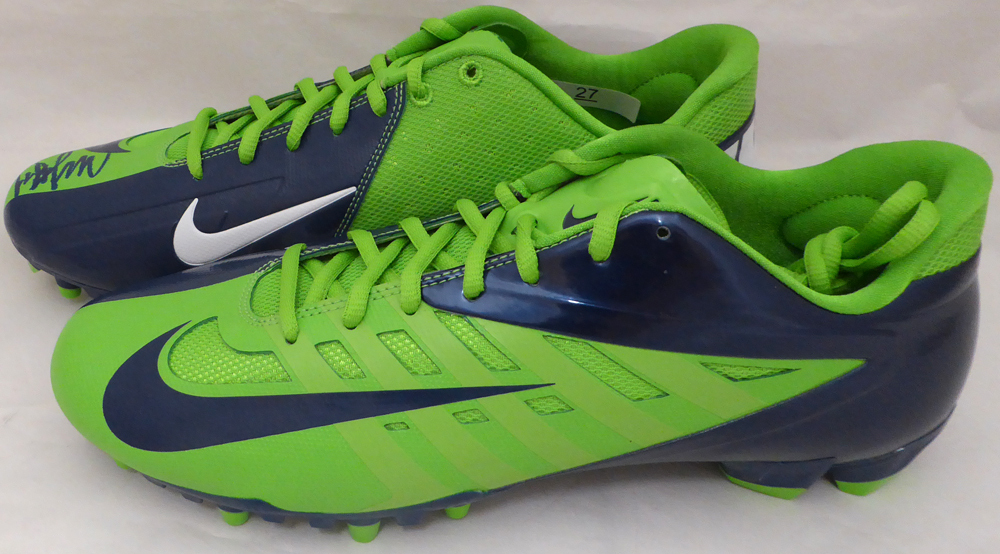 Marshawn Lynch Autographed Signed Nike Cleats Shoes Seattle Seahawks ML Holo Stock #131209 - Certified Authentic Image a
