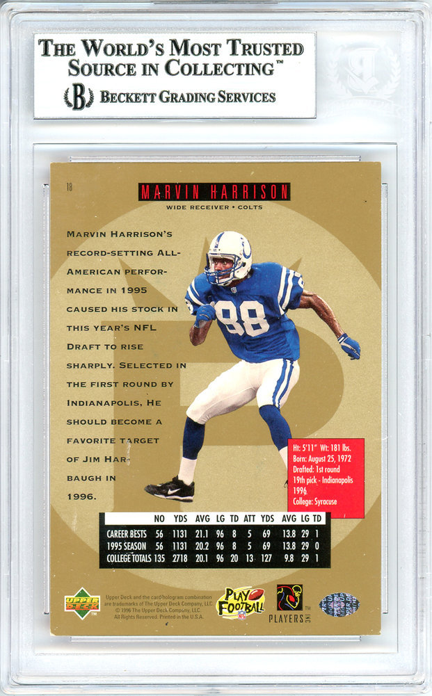 Marvin Harrison Autographed Signed 1996 Sp Rookie Card