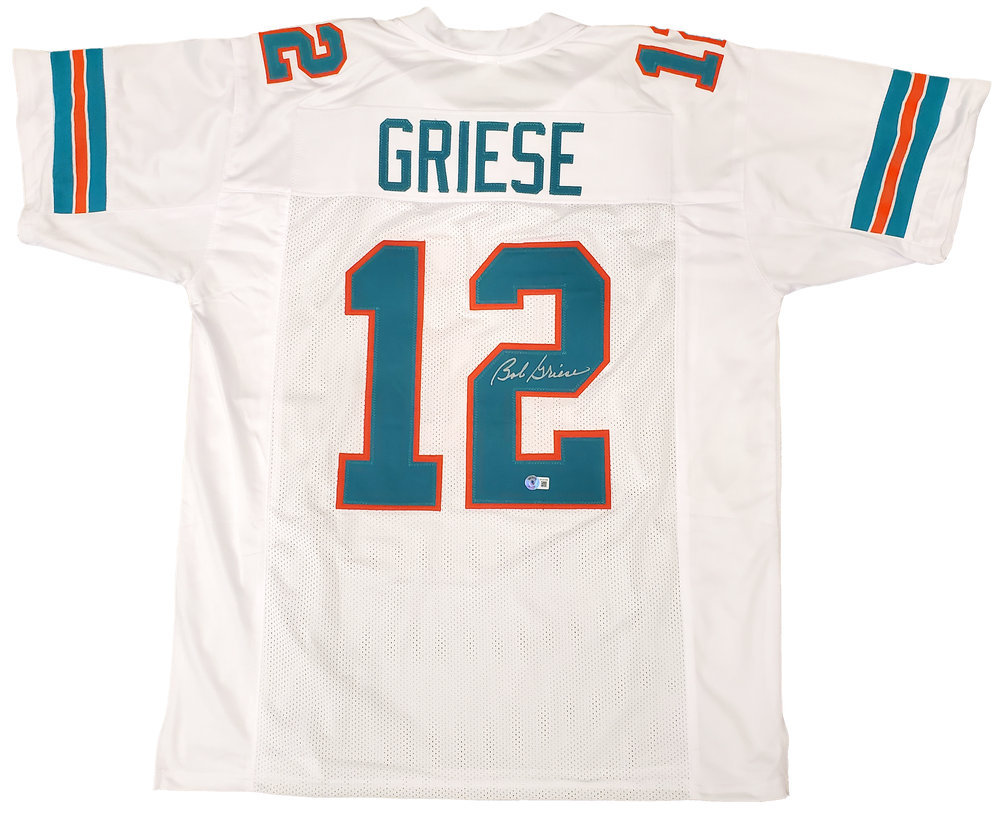 Miami Dolphins Bob Griese Autographed Signed White Jersey Beckett BAS QR Image a
