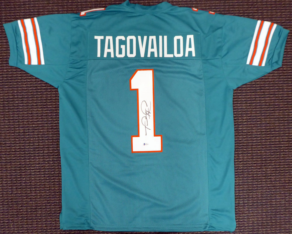 Miami Dolphins Tua Tagovailoa Autographed Signed Teal Jersey Beckett BAS Image a