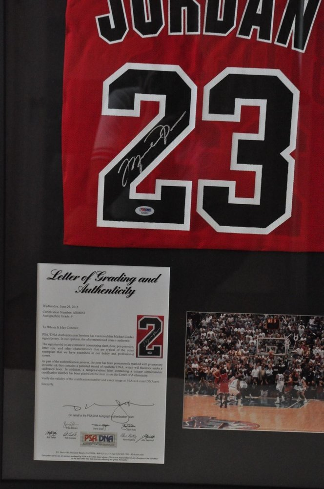 6a04b13cd209d Michael Jordan Custom Autographed Signed Framed Chicago Bulls Jersey ...