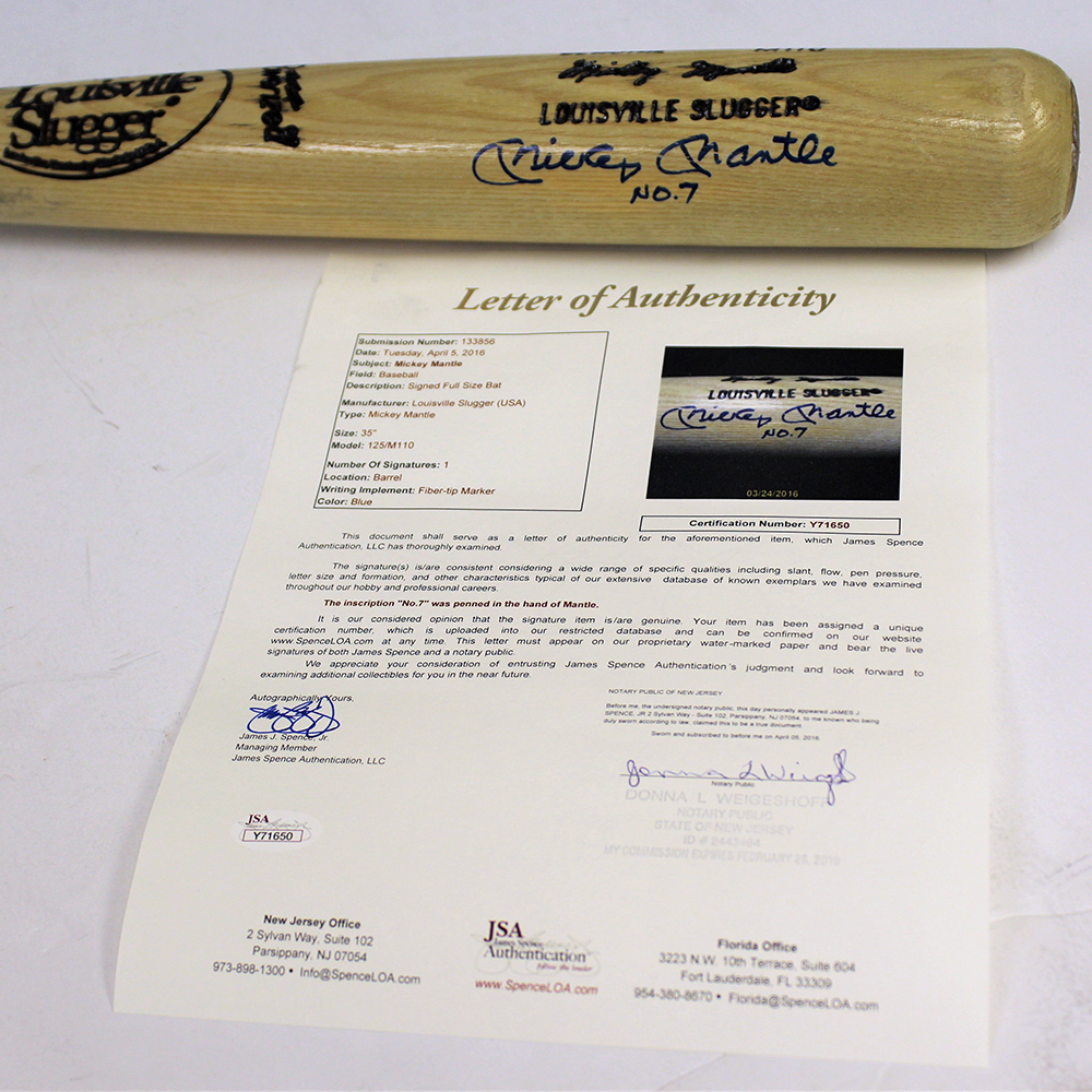 Mickey Mantle Autographed Signed Blonde Baseball Bat- JSA Authentic Image a