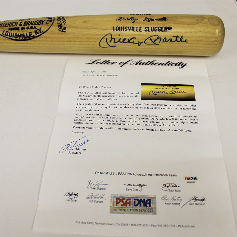 Mickey Mantle Autographed Signed Blonde Baseball Bat- PSA/DNA Authentic Authentic Image a