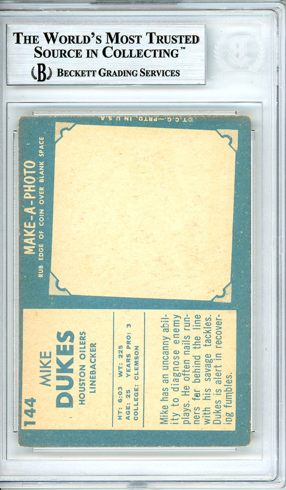 Mike Dukes Autographed Signed Auto 1961 Topps Rookie Card #144 Houston Oilers - Beckett Certified Image a