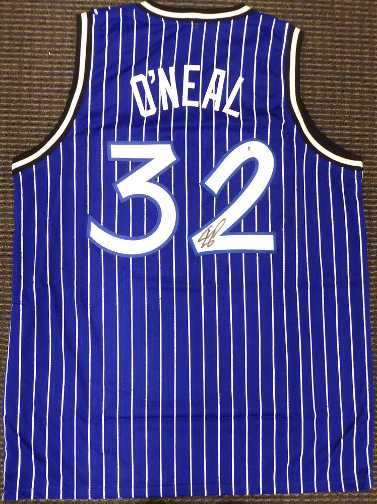 Orlando Magic Shaquille O'Neal Autographed Blue Jersey Signed on #2 Beckett BAS Image a