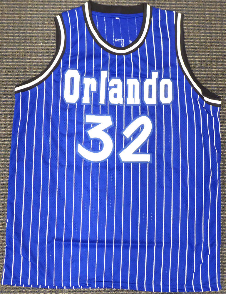 Orlando Magic Shaquille O'Neal Autographed Blue Jersey Signed on #3 Beckett BAS Image a