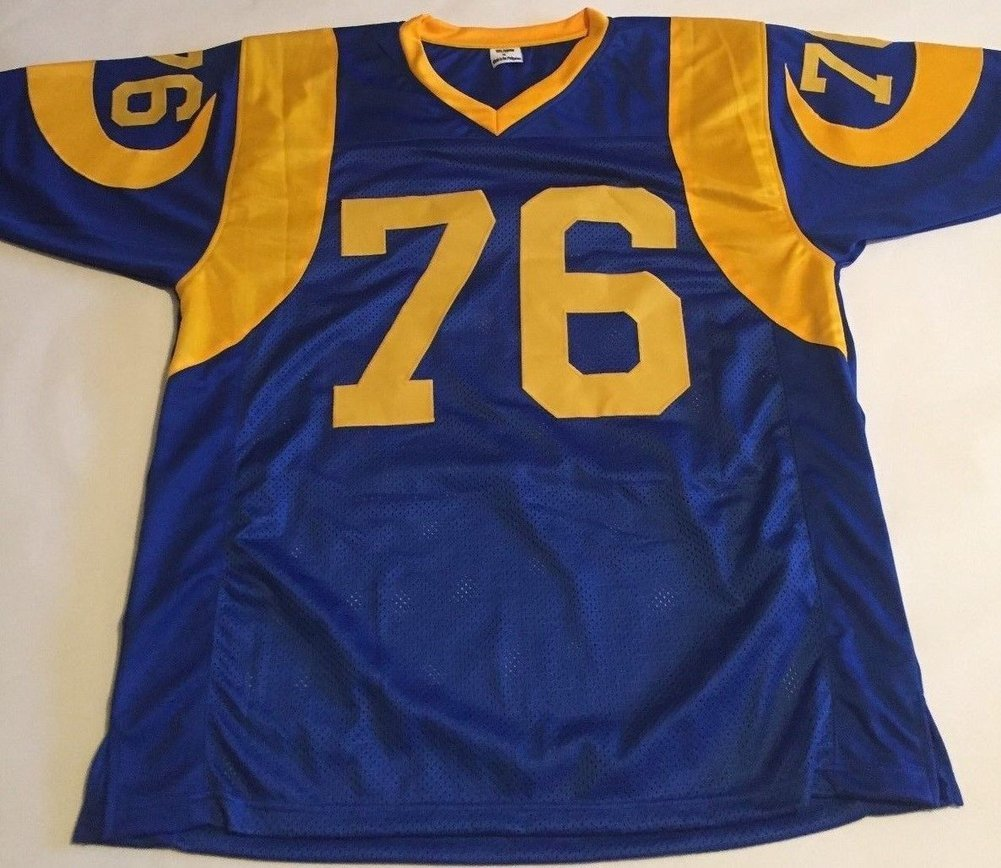 free shipping 4c66b 5c5fe Orlando Pace Autographed Signed Los Angeles Rams Throwback ...