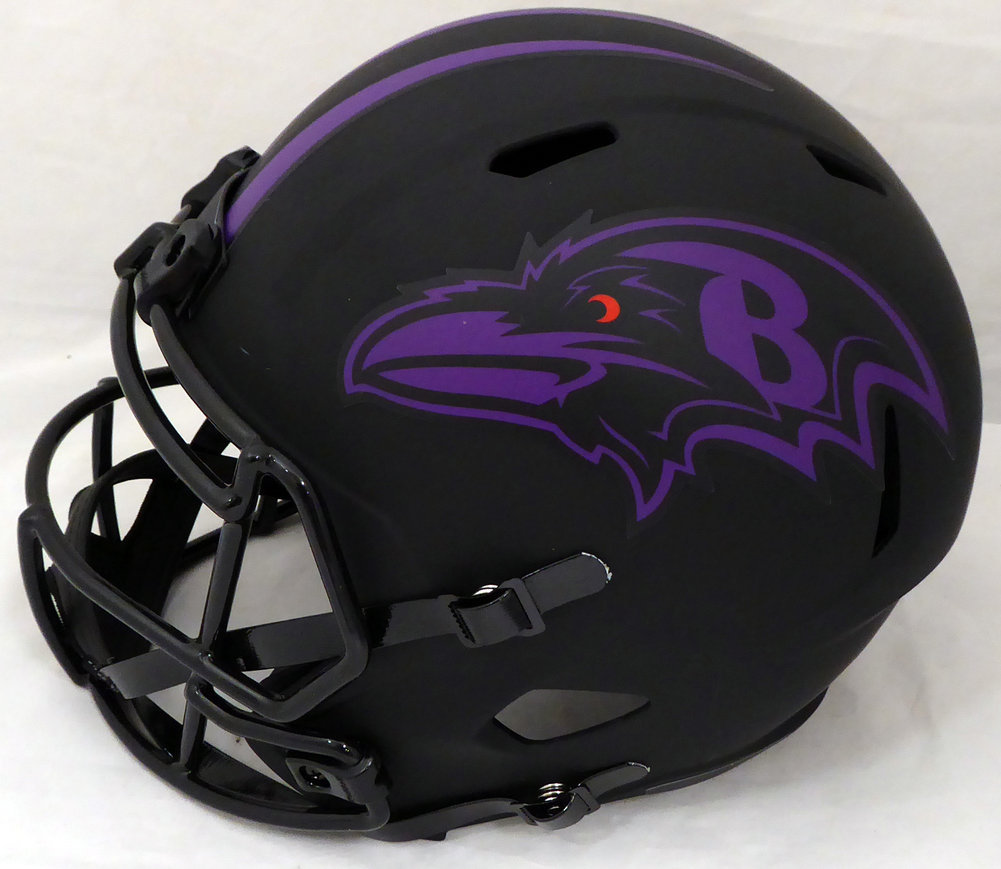 Patrick Queen Autographed Signed Eclipse Black Baltimore Ravens Full Size Speed Replica Helmet Beckett BAS Image a