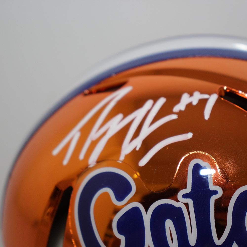 Percy Harvin Florida Gators Autographed Signed Riddell Speed Chrome Mini Helmet - PSA/DNA Authentic Image a