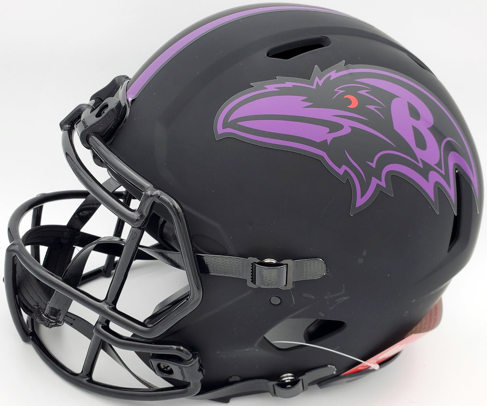 Ray Lewis Autographed Signed Eclipse Black Baltimore Ravens Full Size Authentic Speed Helmet Beckett BAS Image a