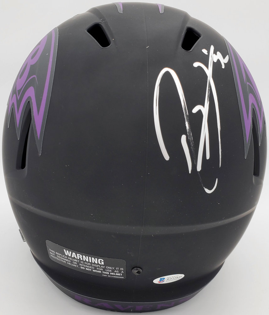 Ray Lewis Autographed Signed Eclipse Black Baltimore Ravens Full Size Speed Replica Helmet Beckett BAS Image a
