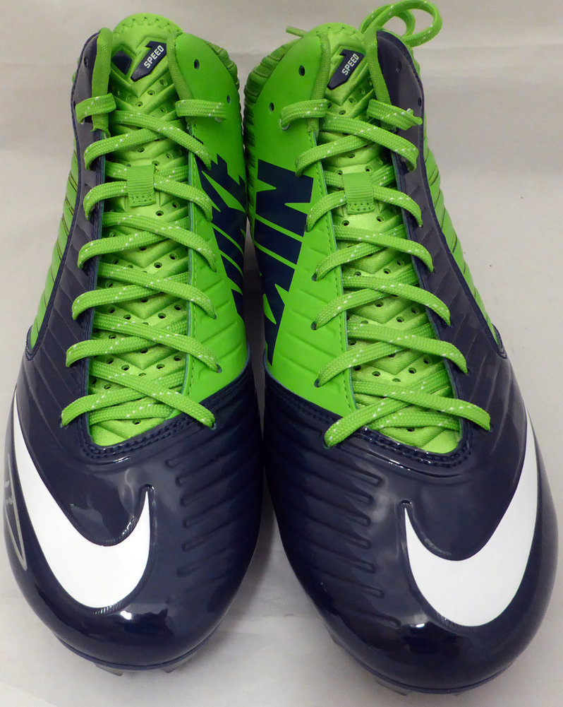 Russell Wilson Autographed Signed Nike Cleats Shoes Seattle Seahawks RW Holo Stock #130471 - Certified Authentic Image a