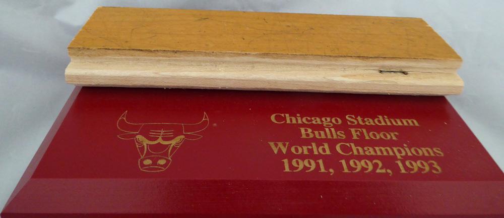 Chicago Bulls Game Used 1.5x6 Blonde Hardwood Floor Piece Michael Jordan Stock #123770 Image a
