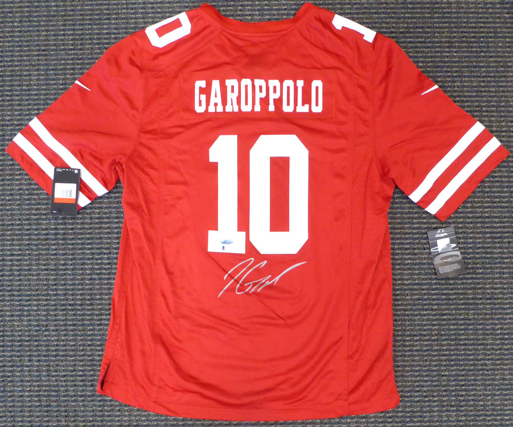 San Francisco 49ers Jimmy Garoppolo Autographed Signed Framed Red Nike Jersey Size L TriStar & Beckett BAS Stock #174297 Image a