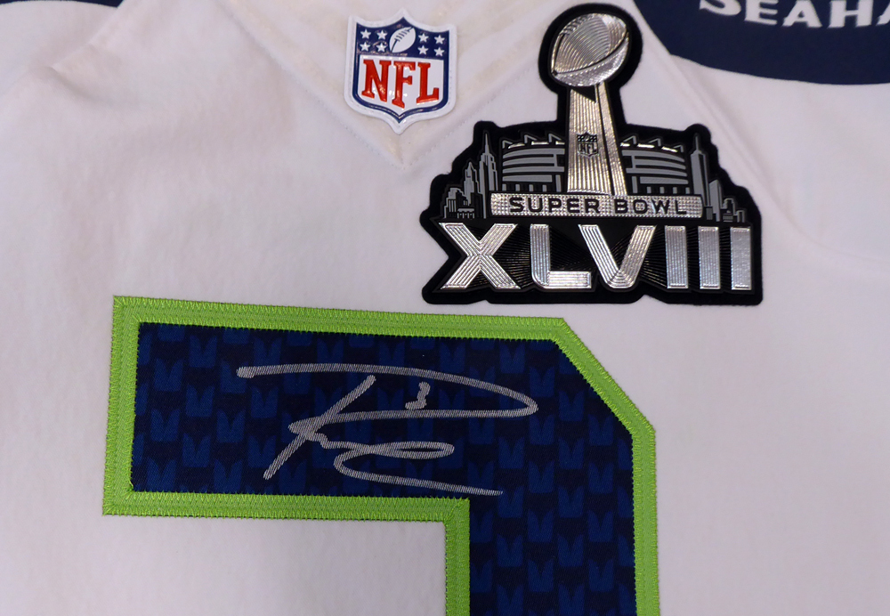 b0937564c Seattle Seahawks Russell Wilson Autographed Signed White Nike Elite ...