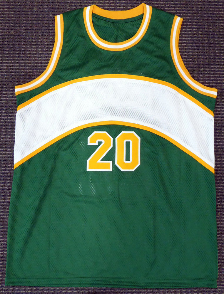 new style 47d79 c3708 Seattle Sonics Gary Payton Autographed Signed Green Jersey ...