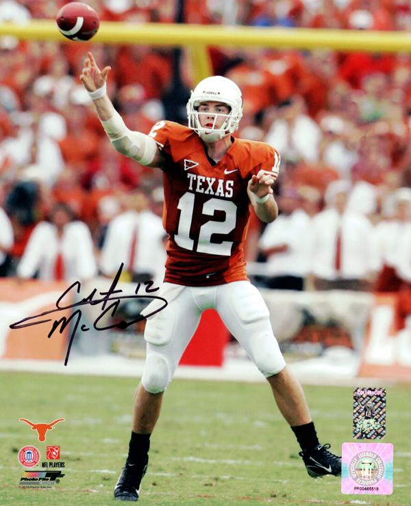 Signed Colt McCoy Autographed 8x10 Photo Texas Longhorns CM Holo Stock #76070 Image a