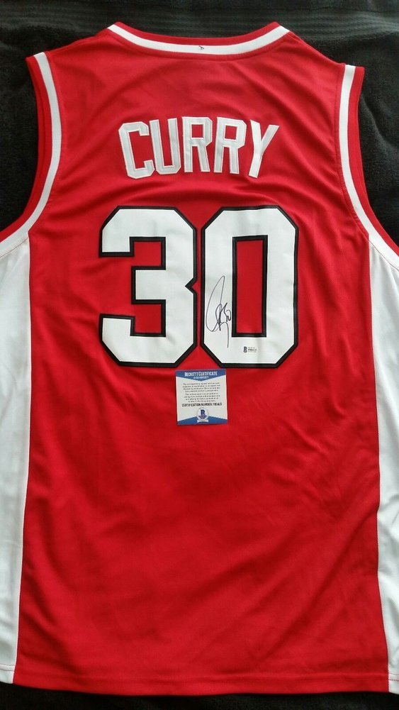 58e5b777c7b Stephen Curry Autographed Signed Red Davidson Wildcats Jersey with Beckett  COA NBA Warriors - Size XL. Loading Images... $871.99 Price