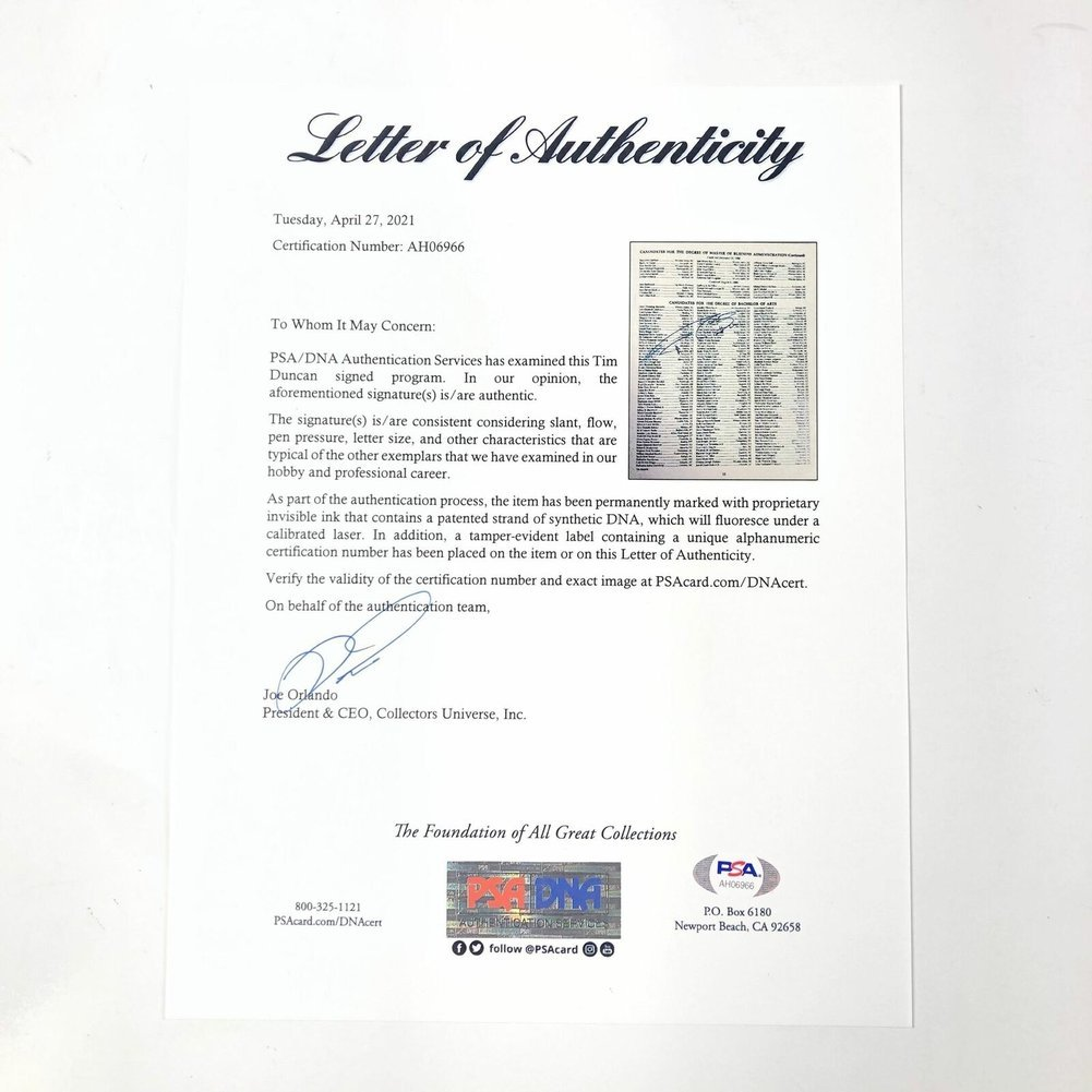 Tim Duncan Autographed Signed Wake Forest Graduation Program PSA/DNA Loa Spurs Autographed Image a