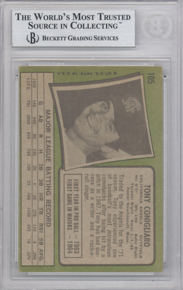 Tony Conigliaro Autographed Signed 1971 Topps Card #105