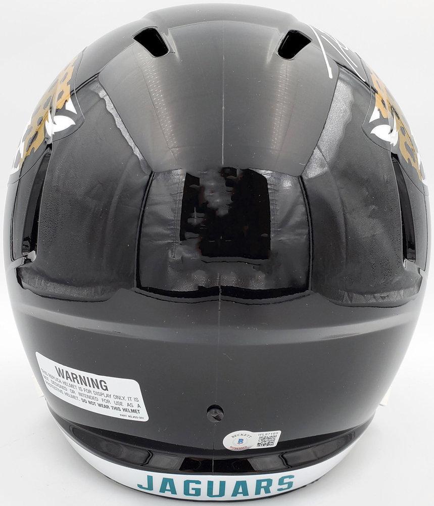 Travis Etienne Autographed Signed Jacksonville Jaguars Black Full Size Replica Speed Helmet Beckett BAS QR Image a