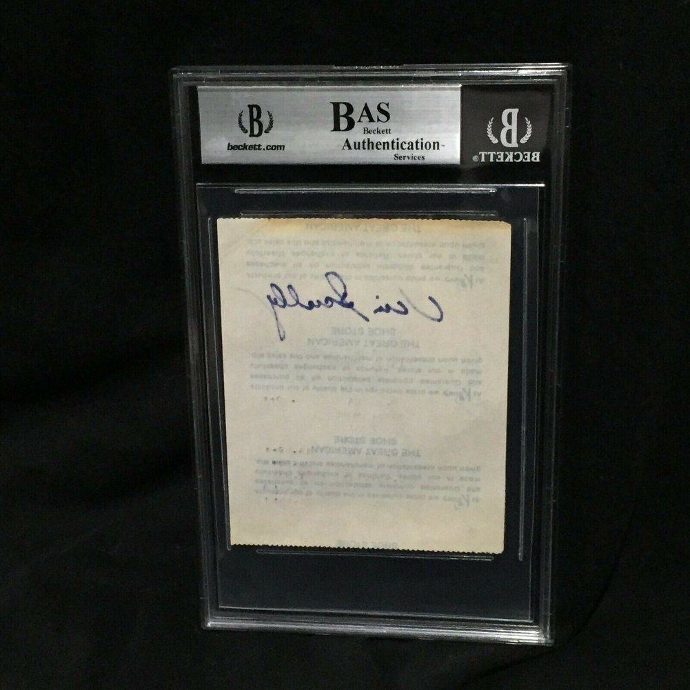 Vin Scully Autographed Signed Vintage Kinney Shoes Receipt '76 Autograph Beckett Beckett Slabbed Image a