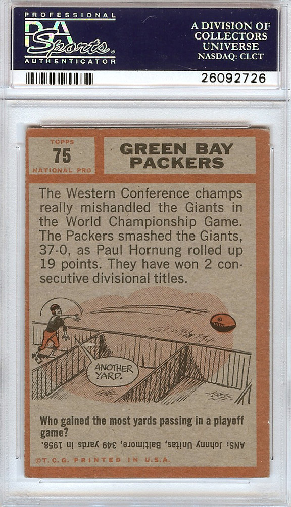 Vince Lombardi Autographed Signed 1962 Topps Trading Card #75 Green Bay Packers To John 10/2/63 - PSA/DNA Certified Image a
