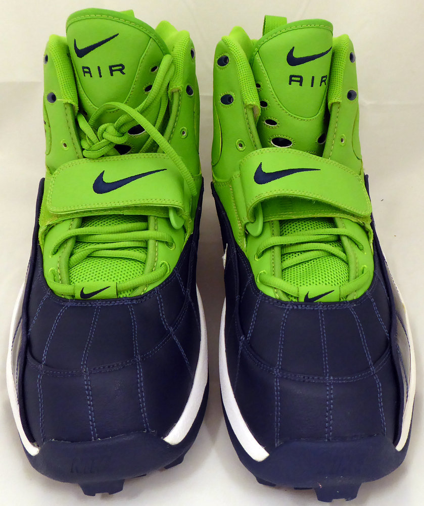 Walter Jones Autographed Signed Nike Cleats Shoes Seattle Seahawks HOF 14 Green / Blue MCS Holo Stock #158444 Image a