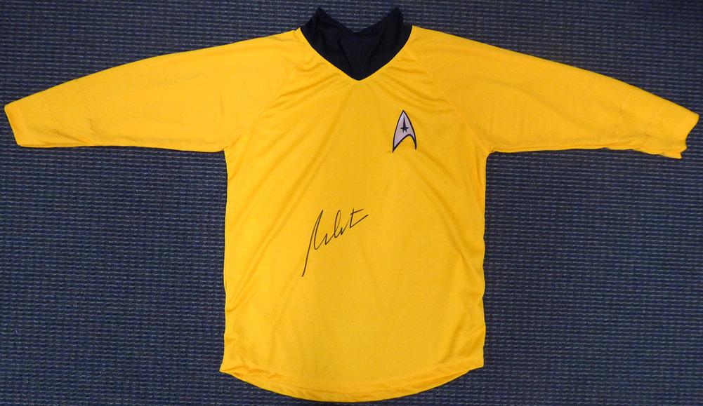 William Shatner Autographed Signed Star Trek Uniform Shirt JSA Stock #159207 Image a