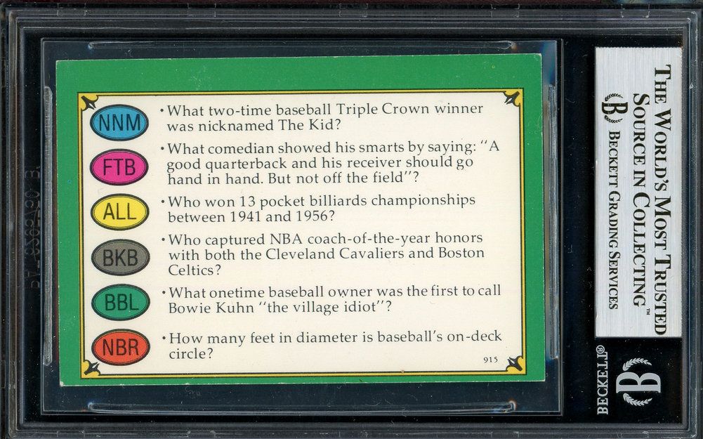 Willie Mosconi Autographed Signed Trivial Pursuit Card Beckett BAS Image a