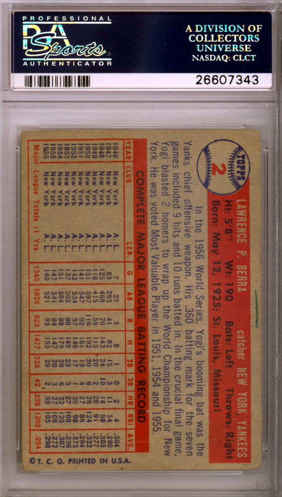 Yogi Berra Autographed Signed 1957 Topps Card #2 New York Yankees - PSA/DNA Authentication Image a